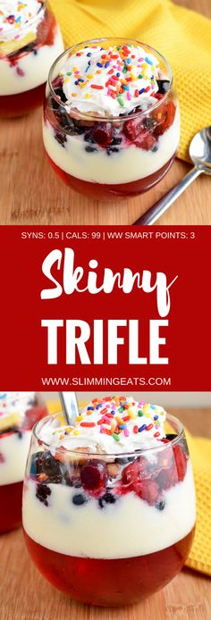 Slimming Eats Low Syn Skinny Trifle - gluten free, Slimming World and Weight Watchers friendly astuce recette minceur girl world world recipes world snacks Slimming World Trifle, Slimming World Deserts, Slimming World Puddings, Slimming World Tips, Slimming World Dinners, Slimming World Recipes Syn Free, Slimming Eats, Baked Oats Slimming World, Slimming World Overnight Oats