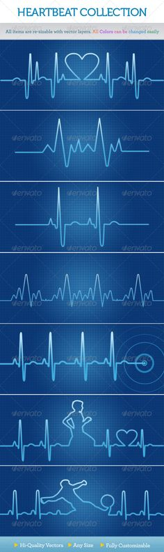 Vector shaped heartbeat background collection. go any size...