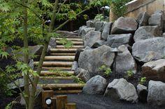escalier bois jardin