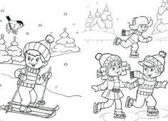 kleurplaat winter Sports Coloring Pages, Colouring Pages, Coloring Pages For Kids, Free Coloring, Winter Activities For Kids, Winter Crafts For Kids, Bookmark Template, Simons Cat, New Year's Crafts