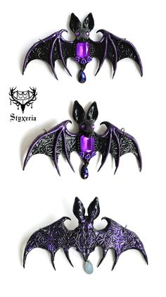 #clay #pendant #styxeria #OrnaBat #gothic #bat #artist #etsy #jewelry #deviantart #handmade #pendant #ooak #dark #necklace #clay #polymer #art #craft #halloween #vamp #vampire #spooky #halloween #creepy #wings #batwings #black #purple #ornaments #ornament #ornamented #detailed #details #pattern