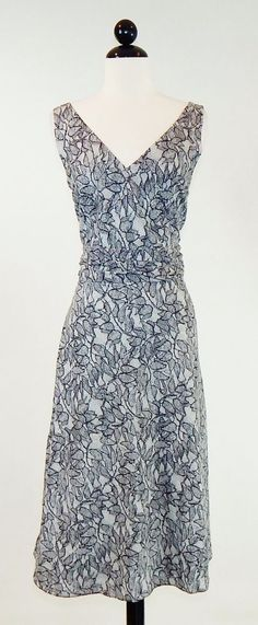 J. CREW Black & White Floral Lace Look Print Cotton Ruched Waist Dress Size 14 #JCrew #AlineSundress #Casual