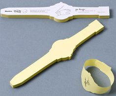 Post-It de pulsos em formato de relógio