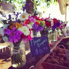 Beautiful bouquets at the local farmers' market...  via Little Owl Arts