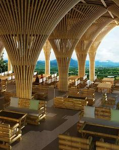 Bambu columnas Bamboo Architecture, Tropical Architecture, Hotel Architecture, Minimalist Architecture, Amazing Architecture, Architecture Design, Bamboo Building, Natural Building, Bamboo Art