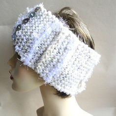 LUXURY DESIGNER SKI  HEADBAND EAR WARMER HAND KNITTED EXCLUSIVE DESIGN CREAM HAT