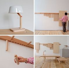 Hang furniture on the wall when you are not using it. small house, small home, tiny house, tiny home, small spaces, small space living, space-saving, compact, pegs, rack, furniture, table, lamp