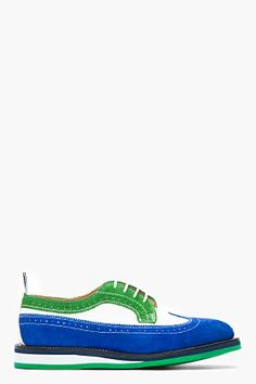 THOM BROWNE Kelly green and electric blue fun mix nubuck brogues. Men's Shoes, Shoe Boots, Mens Fashion Shoes, Men's Fashion, Thom Browne, Kelly Green, Electric Blue, Brogues, Vans