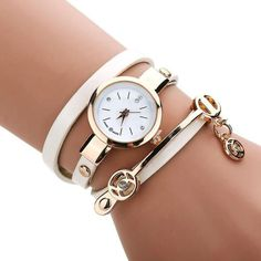 Superior New Hot Selling Women Metal Faux Leather Strap Lady Wrist Watch