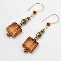Swarovski Light Smoked Stairway Bead Earrings with Bronze and Gold Filled #beadedjewelry