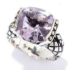 152-869 - Artisan Silver by Samuel B. Two-tone 6.10ctw Cushion Cut Pink Amethyst Ring