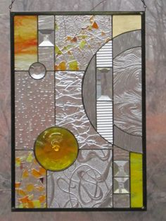One of our most popular designs in a new color combo! Stained Glass Yellow Geometric Panel by RenaissanceGlass on Etsy, $195.00