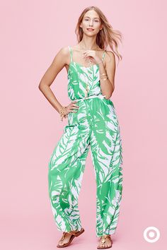 A breezy, palm-print jumpsuit makes a great go-to summer outfit. Personalize your look with sandals and loads of fun jewelry, like bangles and layered necklaces. Like this look? It's all Lilly Pulitzer for Target, launching April 19.