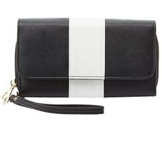 Charlotte Russe Striped Double Zipper Wristlet Wallet ($5.99) ❤ liked on Polyvore featuring bags, wallets, white combo, accordion wallet, white wristlet, double zipper bag, wristlet bag and charlotte russe wallets