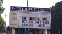 "Biblical Humor!  (In case you are too young... The Beegees was a group that sang the song, ""Stayin' Alive."")"
