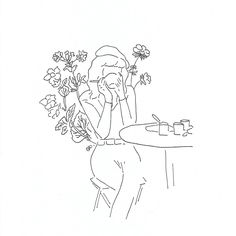 Drink a coffee Minimalist Drawing, Minimalist Art, Outline Drawings, Cute Drawings, Buch Design, Pretty Art, Simple Art, Aesthetic Art, Doodle Art