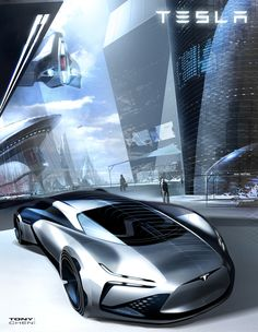 테슬라의 컨셉카 스케치, 전고가 많이 낮아보입니다 메가트렌드 기반 전기자동차 디자인 트렌드에 가까운 디자인