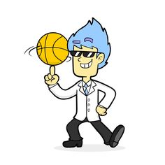 Dr. Party plays basketball.