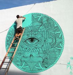 Mural Painting in Wynwood,  Art Basel 2013 Miami - By Joan Tarrago.