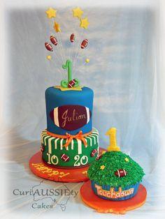 Football theme 1st birthday cake and smash cake