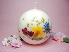 Pressed Flower Candle