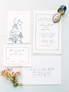 hand painted invitation suite with navy blue calligraphy