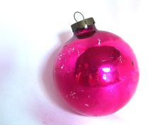 This vintage Christmas ornament is perfect for a shabby chic decor! The large, hot pink holiday ornament will be right at home on an over-sized