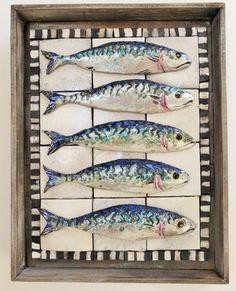 Market Box - Five Mackerel #Fish #Ceramics #art