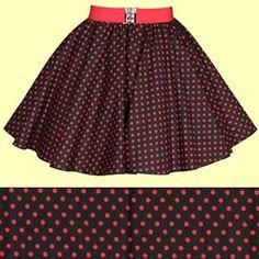 Childs Black with Red Polkadot Full Circle Skirt