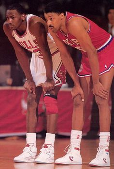 Two legends in sports history - Michael Jordan and Dr J