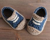 "Crochet Pattern for Boys Booties ""Crete"" Sneaker, Modern Pattern, low top sneaker, blue crochet baby shoes PATTERN ONLY"