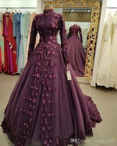 Indian gowns dresses - Medieval Princess Prom Ball Gown with Appliques Flowers Muslim Dress Party Evening Wear High Neck Long Sleeves Dubai Style Gowns Plus Size Evening Gown, Long Sleeve Evening Gowns, Sexy Evening Dress, Prom Dresses Long With Sleeves, Muslim Prom Dress, Muslim Wedding Dresses, Bridal Dresses, Formal Dresses, Muslim Gown