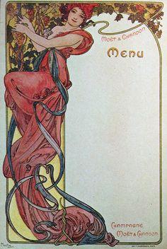 Alphonse Mucha - G1g Menus - Moet & Chandon, 1899.