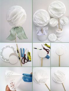 Ideas para fiestas con BLONDAS | Tarjetas Imprimibles Tissue Pom Poms, Doilies Crafts, Diy And Crafts, Paper Crafts, Ideas Para Fiestas, Paper Flowers, First Birthdays, Tea Party, Baby Shower