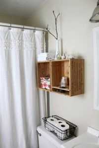 DIY Crate Shelves for the Bathroom