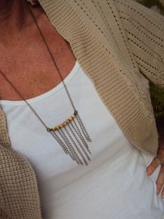 Boho Statement Necklace Vintage Inspired  Brass Chain Jewelry  Fall Autumn Accessories on Etsy, $23.00