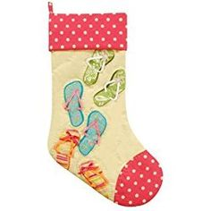 Beachy Christmas Stocking Quilted Tropical Beach Flip Flops Yellow