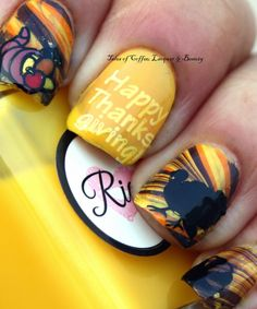 Thanksgiving Watermarble Nail Art with Julep Dawn and Fiore stamped with Bunny Nails HD-E Stamping Plate