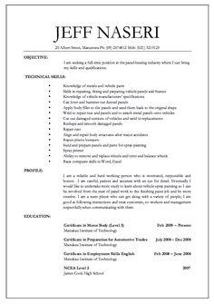 Panel builder resume