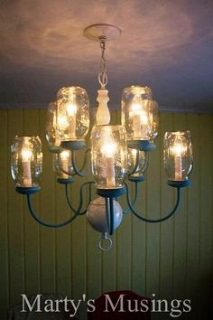 Mason jar down-home style chandelier |