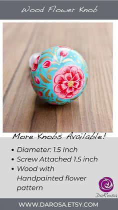 Bohemian Drawer Knobs with Flowers Cabinet Hardware in Blue image 6