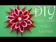 Красный Цветок Канзаши в Горошек / DIY Kanzashi - YouTube