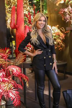 Leather Jacket Outfits, Denim Outfit, Sylvie Meis Style, Dutch Women, Going Dutch, Trade Fair, Fashion Themes, Famous Models, Celebs