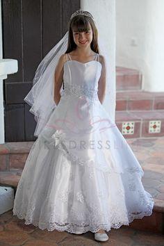 Rhinestone adorned trim First Communion Dress MDR1200 $120.95 on www.GirlsDressLine.Com