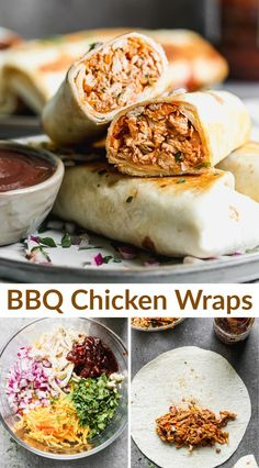Crispy Chicken Wraps, Chicken Wrap Recipes, Healthy Chicken Wraps, Leftover Bbq Chicken Recipes, Chicken Tortilla Wraps, Recipes Using Cooked Chicken, Healthy Lunch Wraps, How To Cook Chicken, Healthy Meal Prep