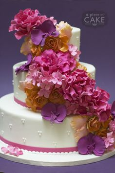 Love the colors--Gallery album : wedding - A Piece O' Cake Gorgeous Cakes, Pretty Cakes, Cute Cakes, Amazing Cakes, Wedding Sweets, Wedding Cakes, Fantasy Cake, My Birthday Cake, Occasion Cakes