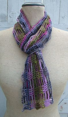 Scarf by Lakhesys - secret is to start with a chain the full length of scarf so you crochet lengthwise