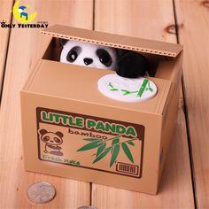 Piggy Bank Money Saving Box Cute Cartoon Automated Panda Steal Coin Bank Spaarpot Acancias 2016 Hot Sale >>> For more information, visit image link. #HomeDecor