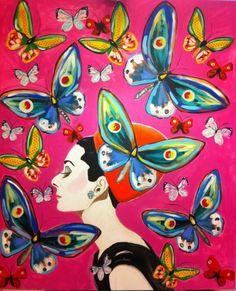 Sarah Ashley Longshore #art #paintings #AudreyHepburn http://artsyforager.wordpress.com/2011/10/21/friday-faves-think-pink/