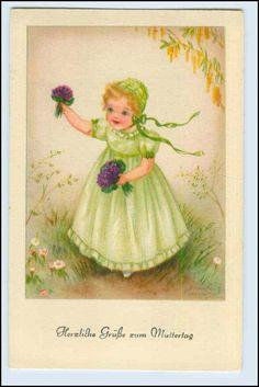 W3H52 Fête DES Mères Artistes AK Hannes Petersen Fille Avec Fleurs Environ 1930 | eBay